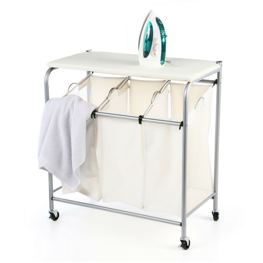 laundry rolling sorter with ironing board hampers. Black Bedroom Furniture Sets. Home Design Ideas