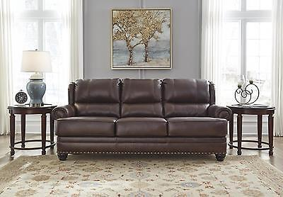 Ashley Glengary Living Room Sofa Authentic Leather Chestnut Traditional Style