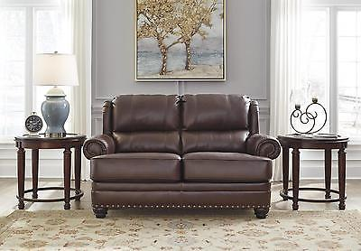 Ashley Glengary Living Room Loveseat Authentic Leather Chestnut Traditional