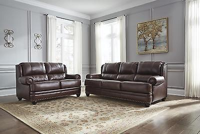 Ashley Glengary Living Room Set 2pc Authentic Leather Chestnut Traditional Style