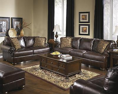 Ashley Axiom Living Room Set 4pcs Genuine Leather Walnut Casual Style