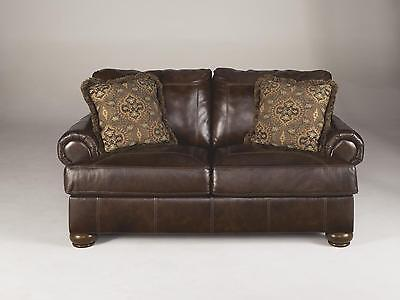 Ashley Axiom Living Room Loveseat Genuine Leather Walnut Casual Style