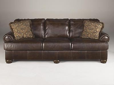 Ashley Axiom Living Room Set 3pcs Genuine Leather Walnut Casual Style