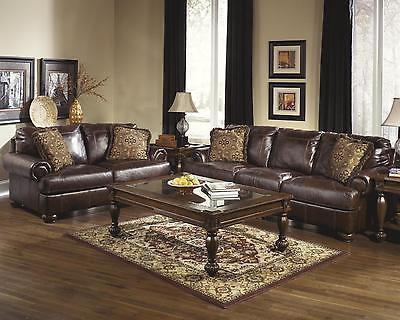 Ashley Axiom Living Room Set 2pcs Genuine Leather Walnut Casual Style