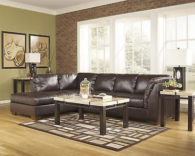 Ashley Fairplay DuraBlend Sectional in Mahogany Left Facing Contemporary Style