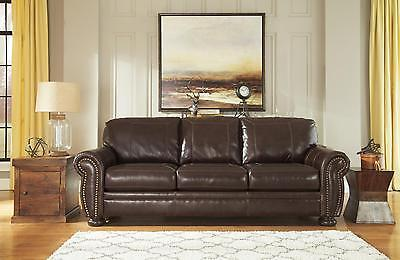 Ashley Banner Living Room Sofa Genuine Leather Coffee Traditional Style