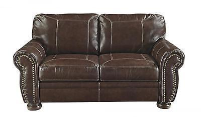 Ashley Banner Living Room Loveseat Genuine Leather Coffee Traditional Style
