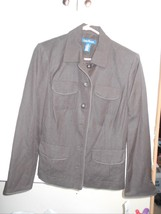 NWT Evan Picone Sz 10 Misses Brown Jacket 4 pocket 55% Linen  45% Rayon ... - $32.49