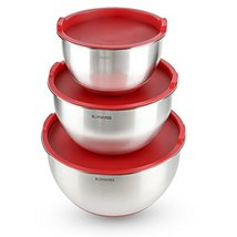 Blmwares 3Piece Stainless Steel Mixing Bowls with Lids NonSkid Rubber Grip - $37.65