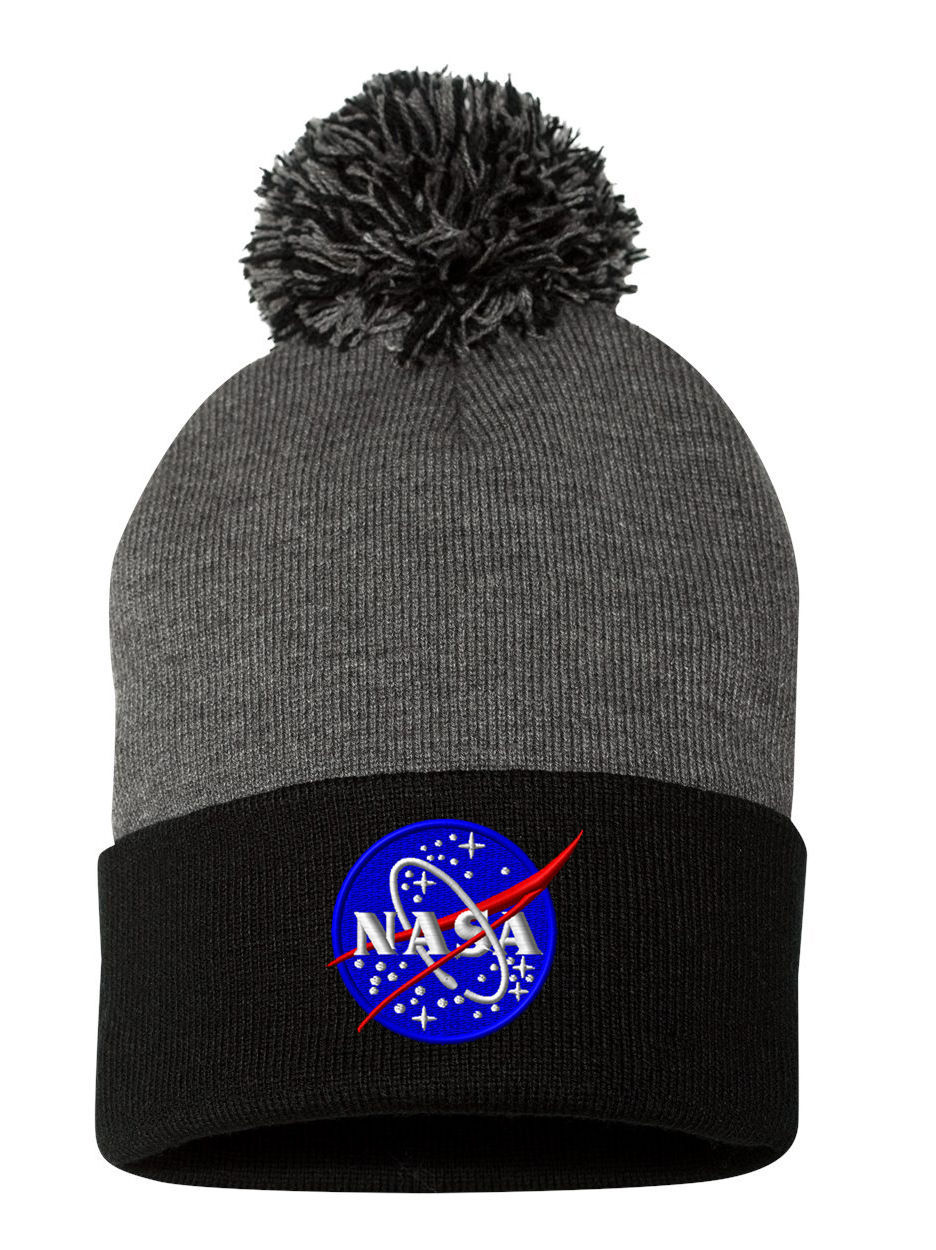 Lunar NASA, Fine Finished Embroidered, Pom Pom Beanie, 12 inch