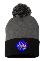 Lunar NASA, Fine Finished Embroidered, Pom Pom Beanie, 12 inch - $16.99