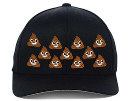 POO POOP EVERYWHERE EMOJI, Flexfit Fine Finished Embroidery Hats - $19.99