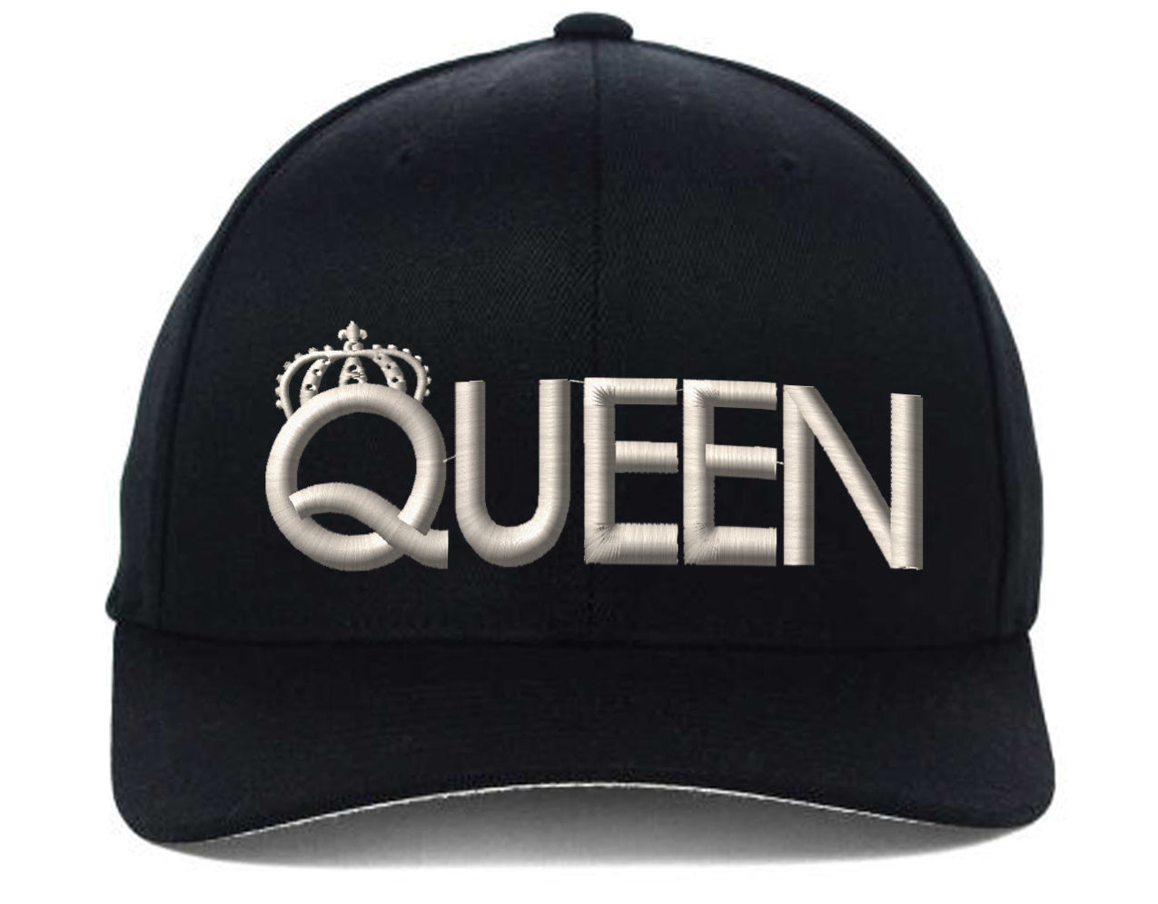 QUEEN Flexfit Hat, Black & White Thread, Fine Finished Embroidery