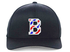 BARBER B Logo with Barber Pole Stripes Embroidered, Flexfit Hats - $19.99