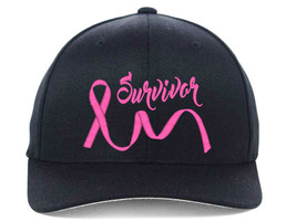 BREAST Cancer Ribbon Survivors Embroidered, Flexfit Hats - $19.99