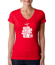Puerto Rico Mix National Taino Symbols, Women V-Neck Tshirt - $13.99+