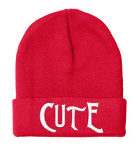 Cute CUTE Embroidered, Beanie, 12 inch - $14.99