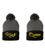 """King & Queen NEW, 2 Beanies, Couple Matching, Pom Pom on Top, 12"""" Beanie - $19.99"""