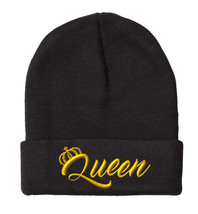 "QUEEN Only(New) Gold Yellow Thread, 12"" Long Unfolded Beanie - $14.99"