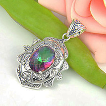 Antique rainbow fire mystic topaz oval pendant sterling silver plated w ... - $12.59