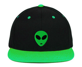 Green Alien Head Embroidered Snapback Hats - $19.99