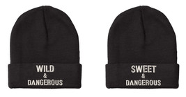 WILD & Dangerous, SWEET & Dangerous, Couple Matching Embroidery Beanie - $27.99