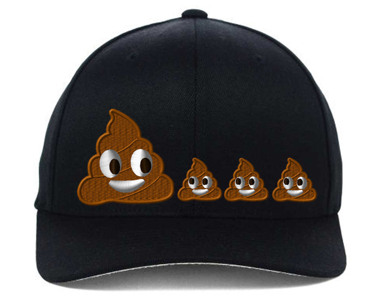 POO POOP FAMILY EMOJI, Flexfit Fine Finished Embroidery Hats