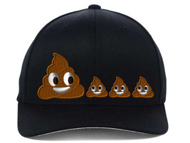 POO POOP FAMILY EMOJI, Flexfit Fine Finished Embroidery Hats - $19.99