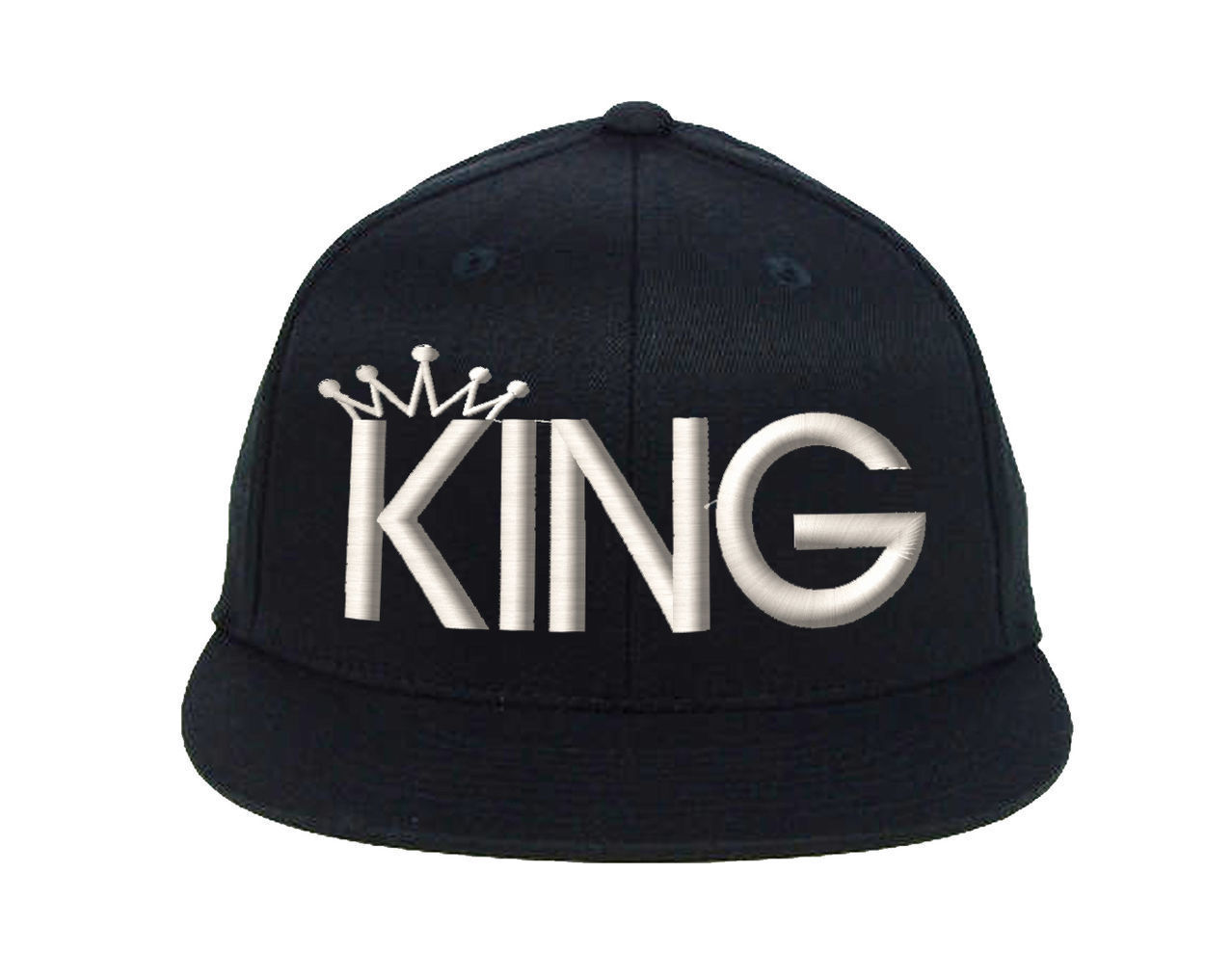 KING Snapback White Thread, Fine Finished Embroidery Cap