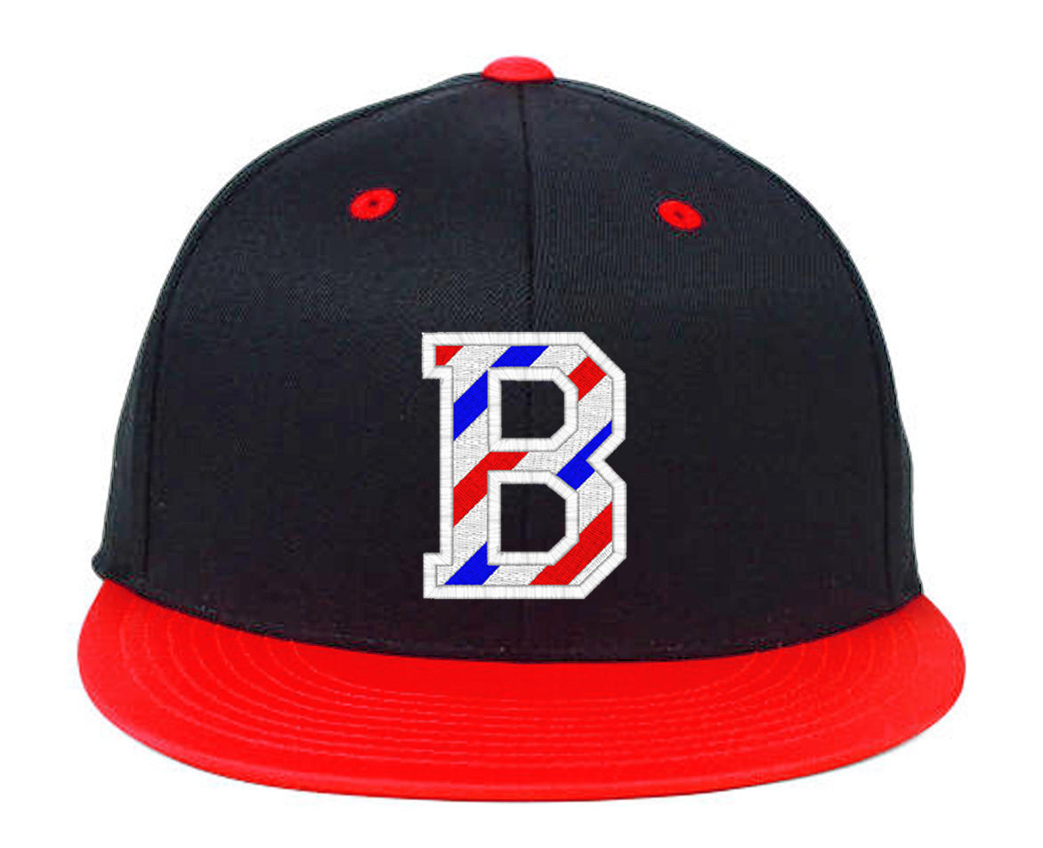 BARBER B Logo with Barber Pole Stripes Embroidered, Snapback Hats