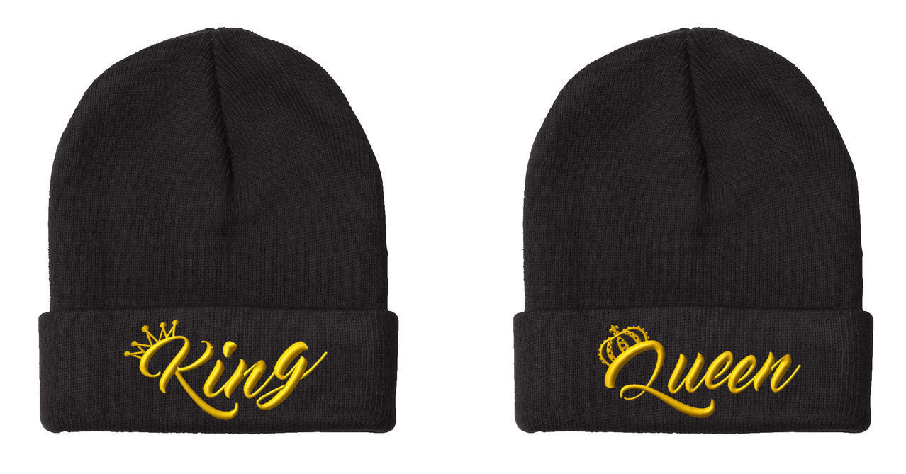 "King & Queen NEW Design, 2 Beanies, Couple Matching, 12"" Long Unfolded Beanie"