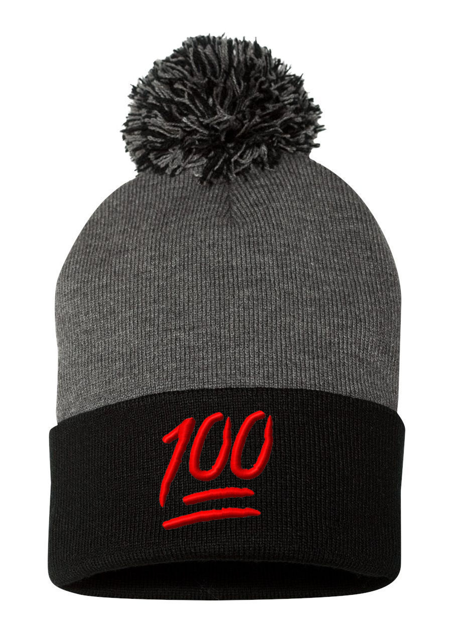 100 One Hundred Emoji Emoticons Text Symbol, Pom Pom Embroidery Beanie