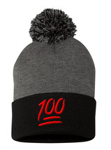 100 One Hundred Emoji Emoticons Text Symbol, Pom Pom Embroidery Beanie - $12.99