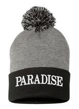 PARADISE   Embroidered, Pom Pom Beanie, 12 inch - $16.99