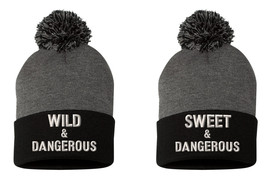 WILD & Dangerous, SWEET & Dangerous, Couple Matching Embroidery Pom Pom ... - $29.99