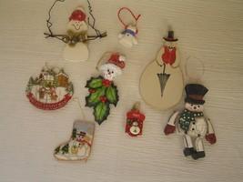 Lot of 8 Kurt S. Adler Signed & Not Painted Wood Resin Plastic Snowman Christmas - $13.99