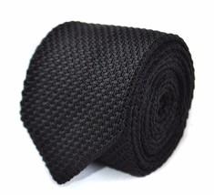 lavorata a maglia Tinta Unita Nero Cravatta da uomo con appuntita estremità da