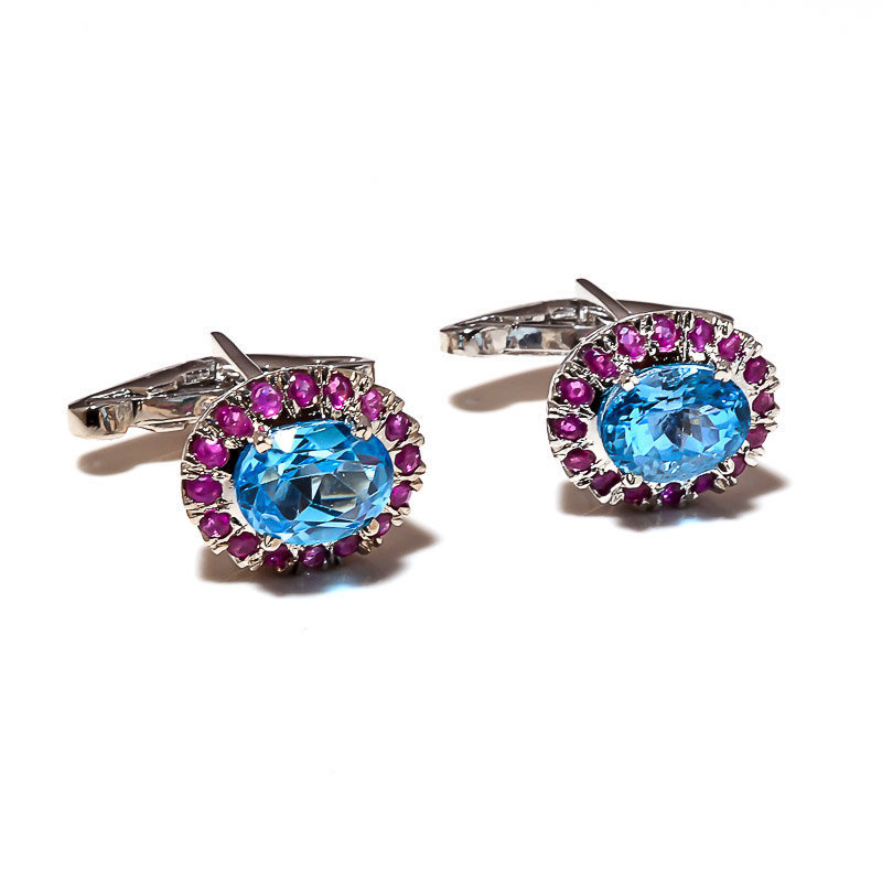 925 Sterling Silver Natural Blue Topaz And Ruby Gemstone Artistic Handcrafted Me