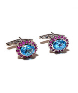 925 Sterling Silver Natural Blue Topaz And Ruby Gemstone Artistic Handcr... - $107.00