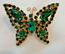 Vintage Juliana Goldtone Emerald Green Rhinestone Butterfly Brooch Pin - $75.00