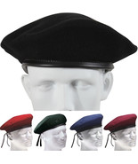 Classic Wool Military Beret - with Eyelets Army Warm Winter Hat - $12.99