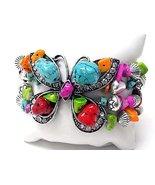 Chunky Butterfly Bracelet Womens Statement Jewelry Stones Bali Beads Sil... - $16.25