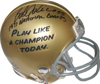 Bob Golic signed Notre Dame Fighting Irish Play Like A Champion Today Logo Mini