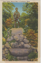 Capt Parker Minute Man Lexington MA Linen Postcard - $5.95