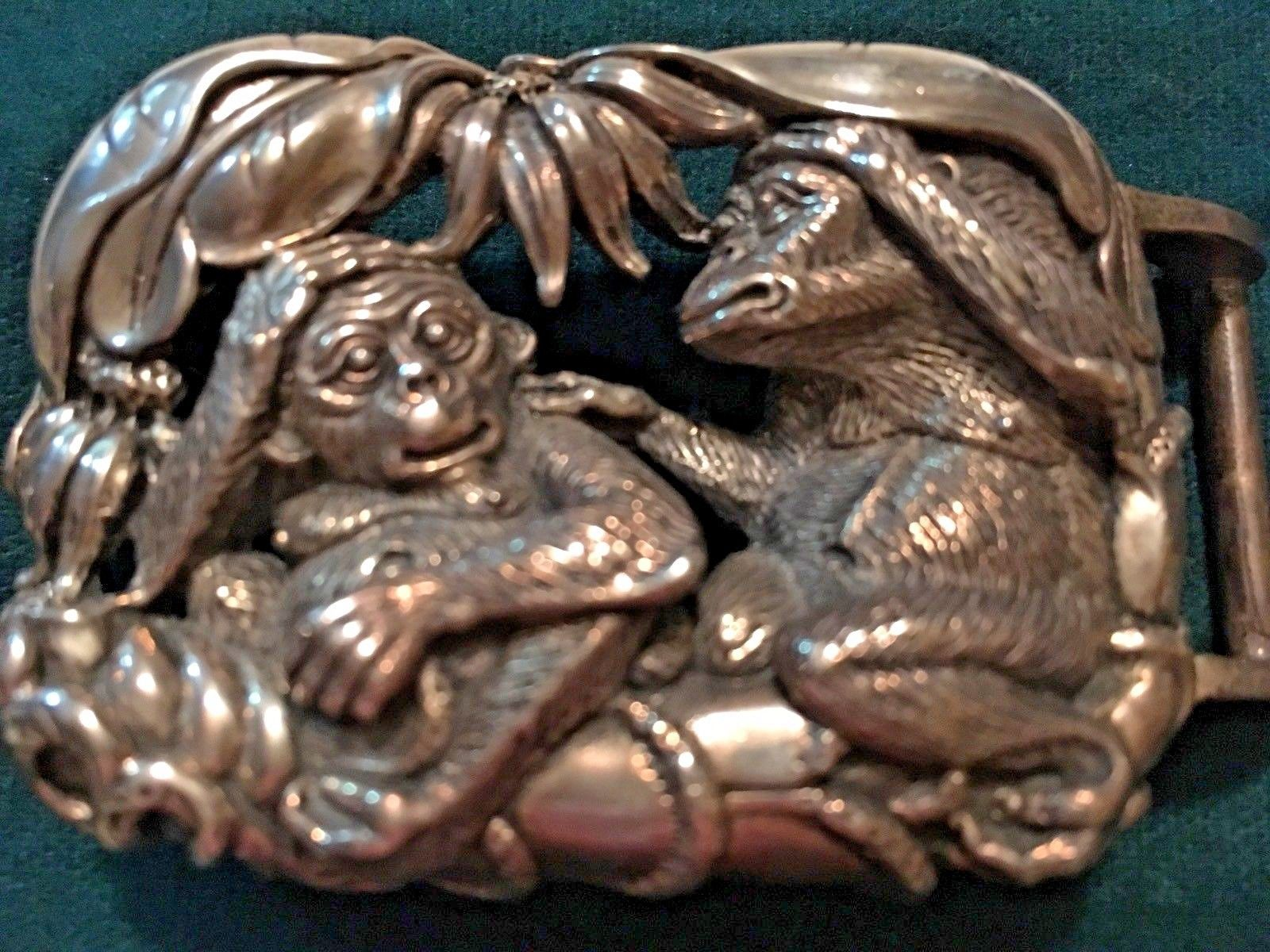 Primary image for Rare Kieselstein-Cord Signed .925 Sterling Silver Monkey Large Belt Buckle 1999