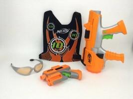 Nerf Dart Tag Orange Team Blasters with Vest Safety Glasses 5 Darts Lot Hasbro - $24.90