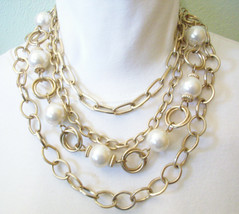 PREMIER DESIGN Big Pearls n Chains Convertible Necklace Choker Gold Plat... - $18.80
