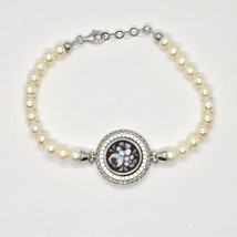 Silver 925 Bracelet With Pearls Fresh Water Cameo Cameo Zircon Cubic - $204.73