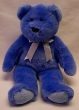 "TY 1999 Beanie Buddy PERIWINKLE BLUE TEDDY BEAR W/ SILVER BOW 13"" STUFFE... - $16.34"