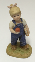 HOMCO Denim Days #1513 School Days Figurine Debbie Apple Book 1985 Home Interior - $12.99